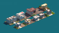 Cartoon Low Poly Administrative Building Package