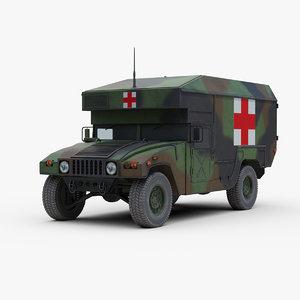 3D m997 military ambulance