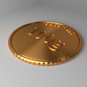 goldcoin 100 gram 3D
