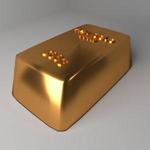 3D goldbar 500 gram model