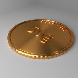 3D goldcoin 50 gram model