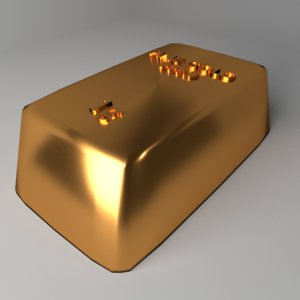3D model goldbar 1 gram