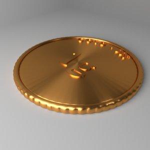 3D goldcoin 1 gram