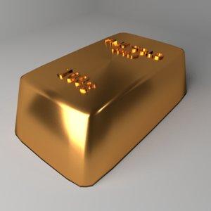 goldbar 100 gram 3D model