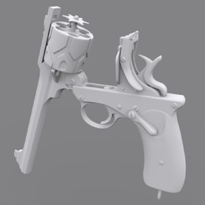 webley fosbery automatic revolver 3D model