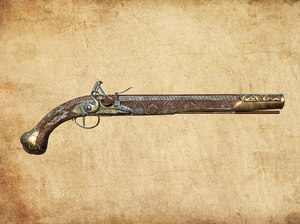 3D model flintlock rifle