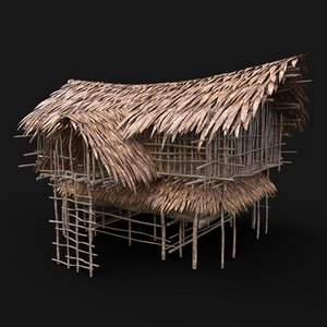 3D aaa jungle tribal hut
