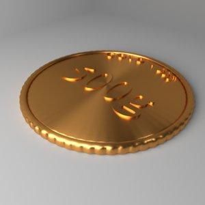 3D goldcoin 500 gram model