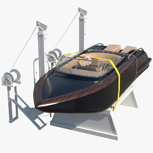 boat crane lifting motorboat 3D model