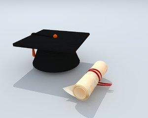3D diploma mortarboard