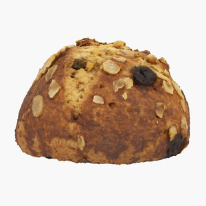 3D raisin nut bun model