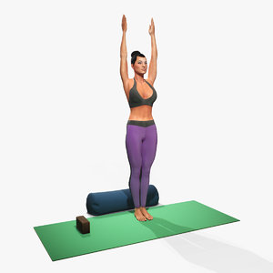 3D model woman yoga urdha hastasana