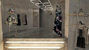 3D female clothing accessories boutique