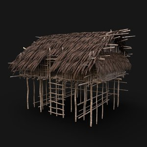 aaa jungle tribal hut 3D model