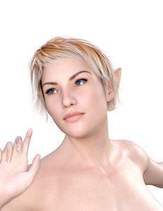 3D woman elf rigged model