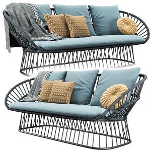 cala seater garden sofa 3D model