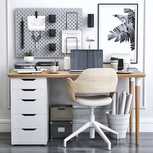 office table cabinet chair 3D