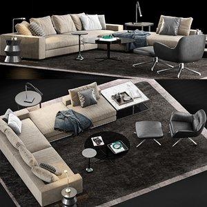 minotti hamilton sofa table 3D model