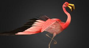 3D flamingo stylized