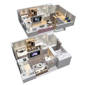 floorplan apartment duplex 3D