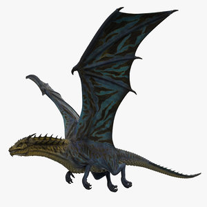 3D rigged blue dragon animation model