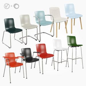 vitra hal chair stool 3D