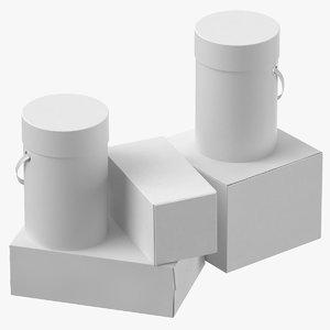 3D cardboard box set 01
