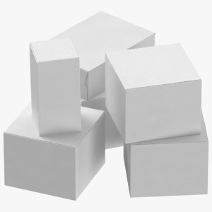 3D cardboard box set 01 model