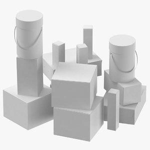 cardboard box set 01 model