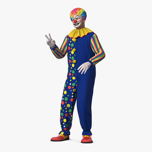 funny clown costume rigged 3D model