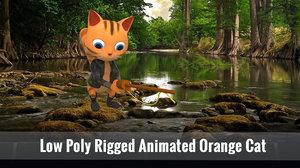 3D orange cat model