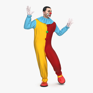 3D circus clown dancing pose