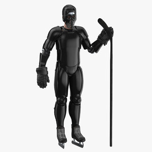 3D hummanoid hockey player black model