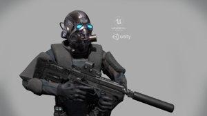 - skinned 3D model