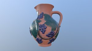 3D model pitcher witch bunch wine