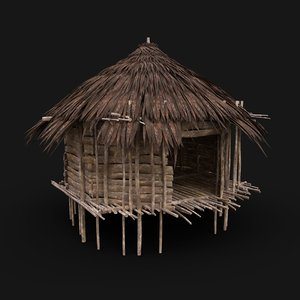 3D tribal jungle hut