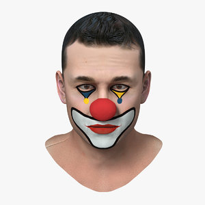 clown head makeup 3D model