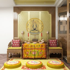 interior scene buddhist 3D model