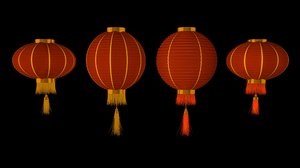 chinese red lanterns 3D model