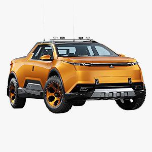futuristic pickup truck 3D