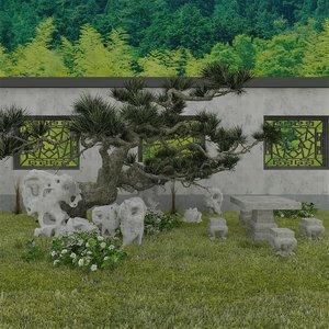 garden set chinese 3D model