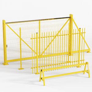 3D sliding gates fences model