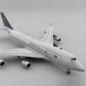 3D boeing 747 saudia l795 model