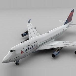 boeing 747 delta air lines 3D