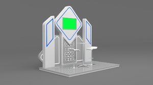 stand booth backdrop tv screen 3D model