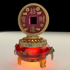 chinese gold coin pot 3D