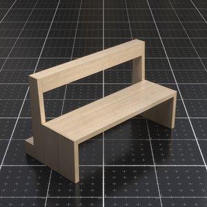 church bench dark band 3D