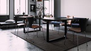 fritz hansen essay dining table 3D model
