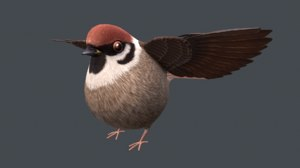 3D sparrow bird nature model