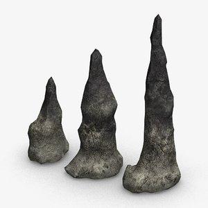 3D set stalagmites -